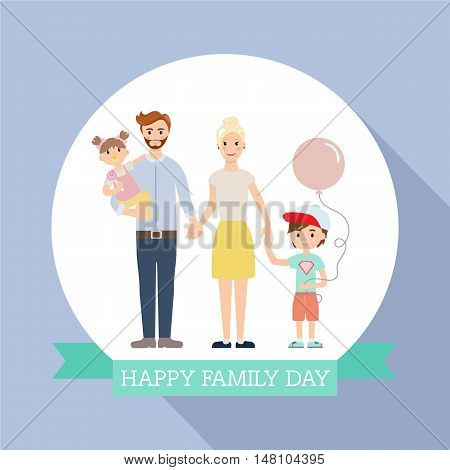 Modern family with children flat design. Modern family portrait. People couple, people family together concept. Vector illustration
