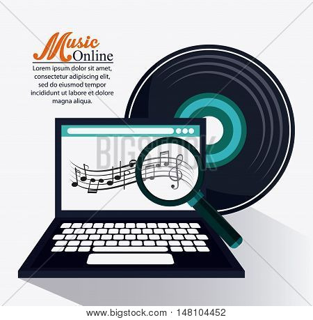 Laptop music note lupe and vinyl icon. Music online and media  theme. Colorful design. Vector illustration