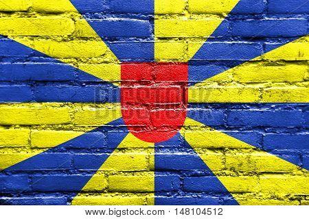 Flag Of West Flanders Province, Belgium, Painted On Brick Wall