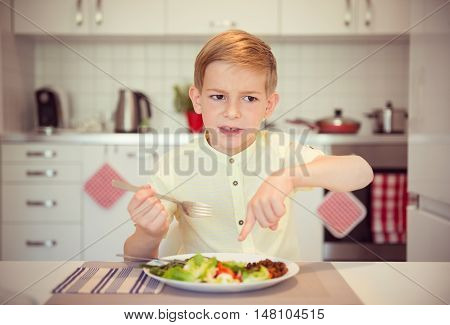 Angry Hungry Boy Child Complains About The Food