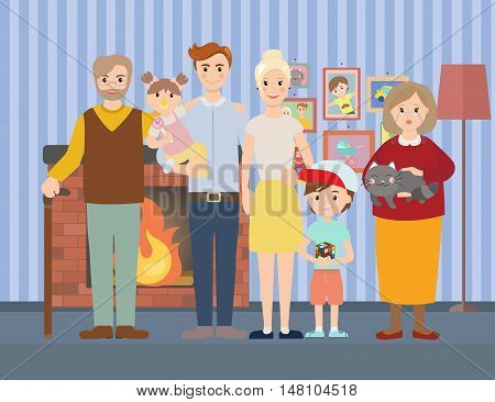 Big modern family at home near fireplace vector illustration. Big family with children, parents, grandparents. Room with photographs on the wall.