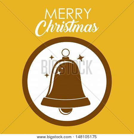 Bell inside circle icon. Merry Christmas season and decoration theme. Colorful design. Vector illustration