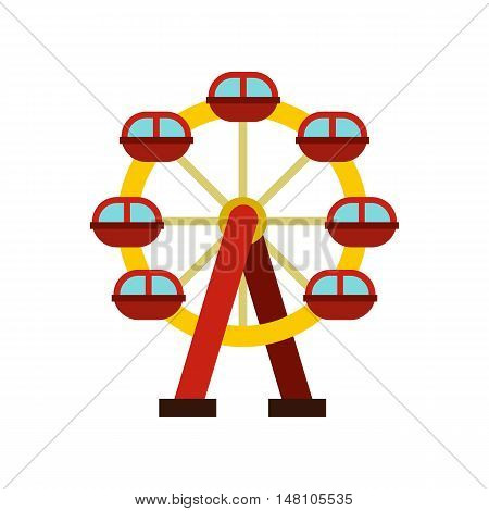 Ferris wheel icon in flat style on a white background vector illustration