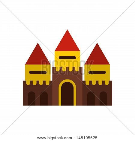 Fairy tale castle icon in flat style on a white background vector illustration