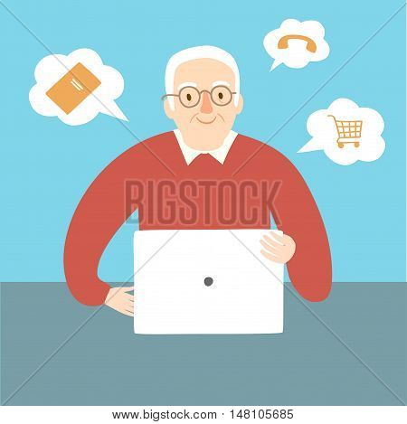 Lovely cartoon old man using internet on laptop. Vector illustration for your design.