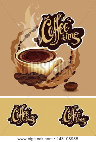 Banner with a cup of coffee. Coffee time logo. Vector illustration.