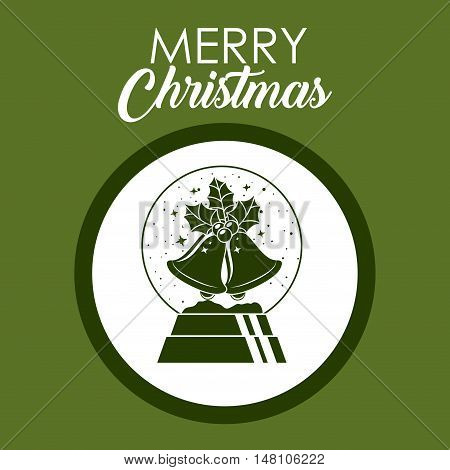 Bell and sphere inside circle icon. Merry Christmas season and decoration theme. Colorful design. Vector illustration