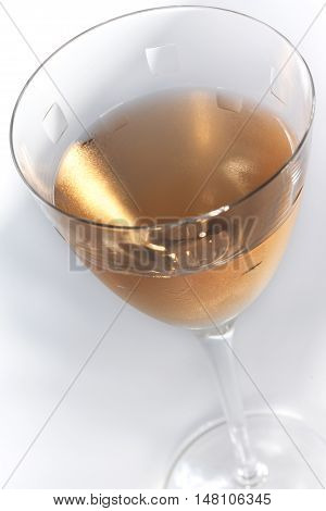 Close up of rose wine on a crystal glass