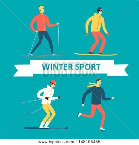 Winter sportsmen cartoon set. Including ice skater snowboarder skier. Sport illustration for your design.