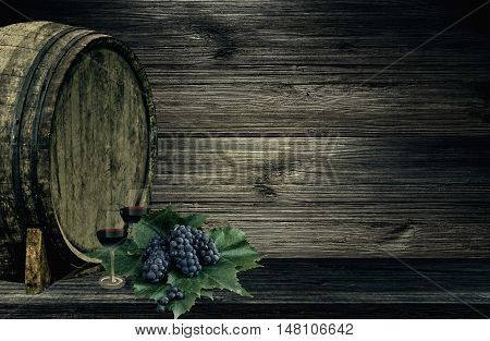 Wine grape vintage background - Two goblets with wine, berries of grape and barrel