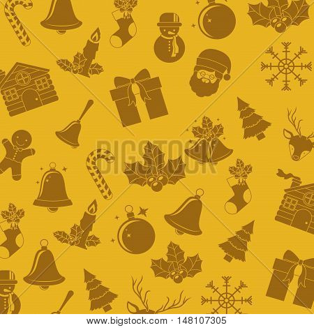 Santa bell sphere snowman candle candy and house icon. Merry Christmas season and decoration theme. Colorful background. Vector illustration