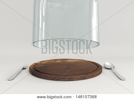 3D rendering open glass lid and wooden tray with spoon and fork isolated on white