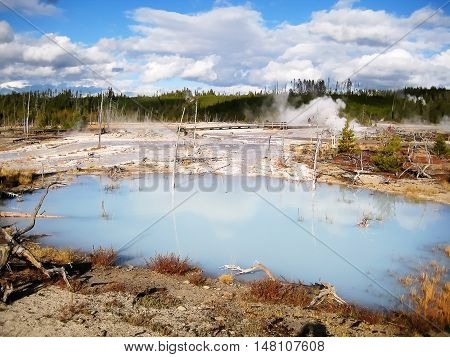 White water pool in Norris Geyser Basin, Yellowstone National Park (Wyoming, USA)