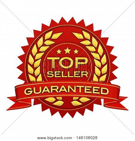 Top seller guaranteed red and gold label , 3d illustration