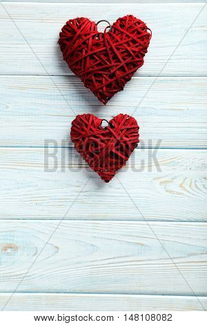 Love Hearts On A Blue Wooden Background