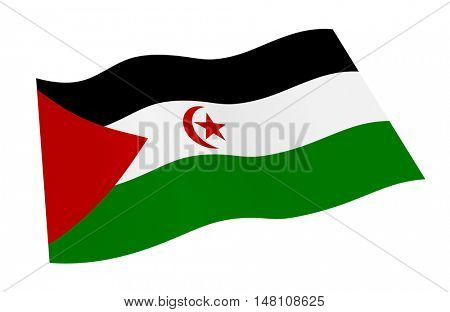 Western Sahara flag isolated on white background. 3D illustration.