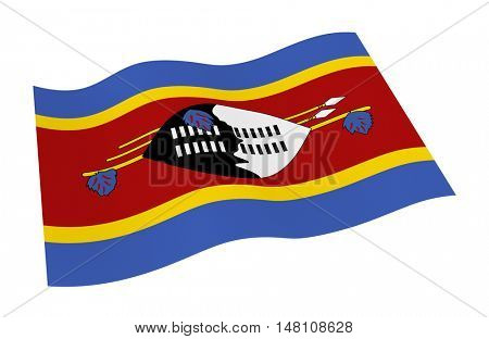 Swaziland flag isolated on white background. 3D illustration.