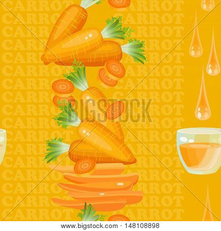 Seamless texture with carrot, glass, drop juice and slices on orange background. Vector illustration.  Floral texture with natural elements and words Carrot.