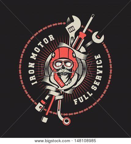 vector emblem garage skull helmet around tools