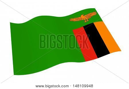 Zambia flag isolated on white background. 3D illustration.