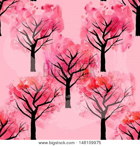 A seamless vector pattern with spring trees, freehand drawings on a pink background. Abstract landscape repeat print