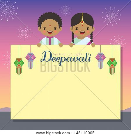 Diwali / Deepavali message board with india lanterns. Indian kids holding yellow paper with beautiful fireworks as background. vector illustration.Diwali / Deepavali message board with india lanterns. Indian kids holding yellow paper with beautiful firewo