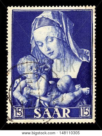 Germany, Saarland - CIRCA 1954: a stamp printed in the Saar, Germany shows painting by Durer: