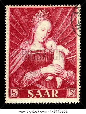 Germany, Saarland - CIRCA 1954: a stamp printed in the Saar, Germany shows painting by Hans Holbein the Younger: