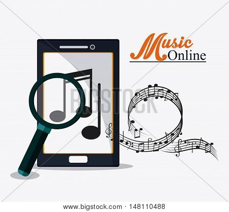 Smartphone lupe and music note icon. Music online and media  theme. Colorful design. Vector illustration