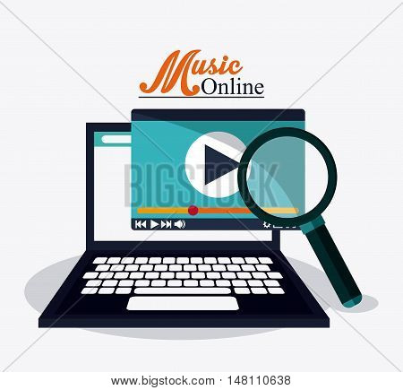 Laptop and lupe icon. Music online and media  theme. Colorful design. Vector illustration