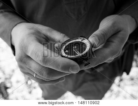 Soviet soldier standing with a compass in hand