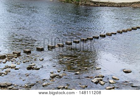 A Row of Stepping Stones Across a Shallow River.