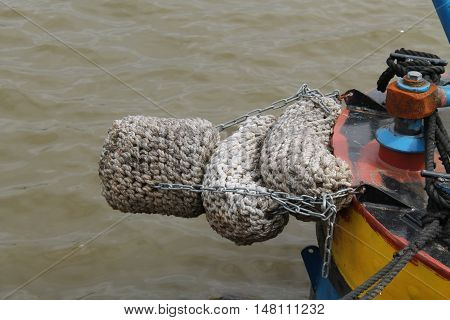 A Rope Fender on the Front of a Canal Narrow Boat.