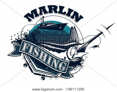 Black Marlin Fishing On Paper