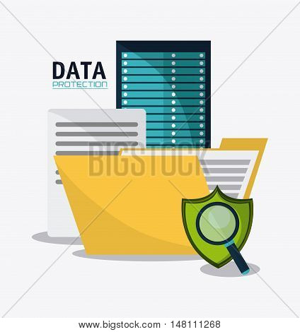 Document file lupe shield and padlock icon. Data protection cyber security system and media theme. Colorful design. Vector illustration