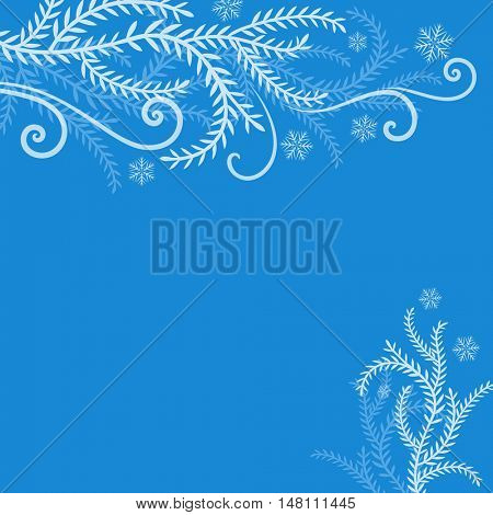Abstract blue winter frosted branches Christmas background with copy space. Christmas greeting card vector template.