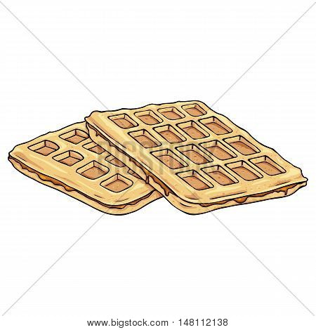 Vector Cartoon Belgian Waffles With Caramel.