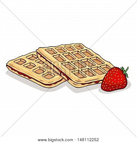 Vector Cartoon Belgian Waffles With Strawberry.