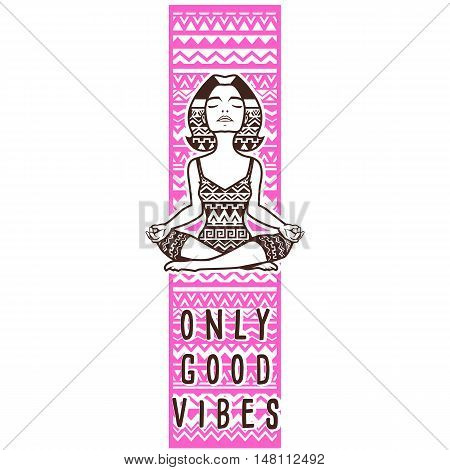 Good vibes only bookmark tribble ornament. Young woman practicing yoga.