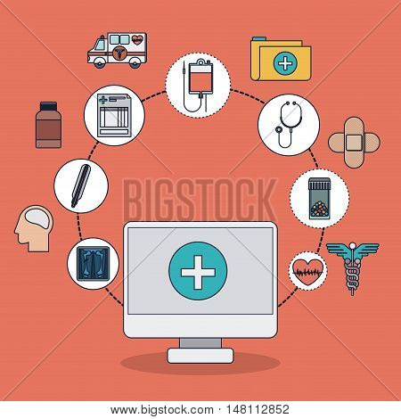 Computer with cross shape and icon set. Medical and health care theme. Colorful design. Vector illustration