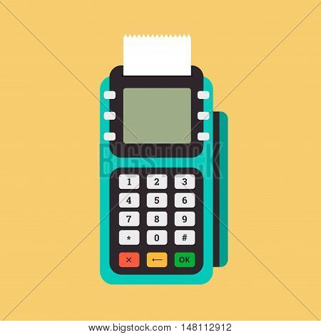 Pos terminal in flat style. Pos payment. Illustration pos machine or credit card terminal. Concept of cashless payment and credit card payment.