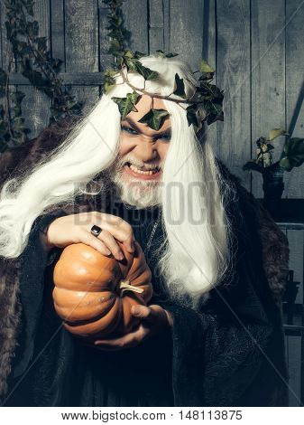 Senister old gray sorcerer with long hair and wreath of ivy compresses squash in wooden house