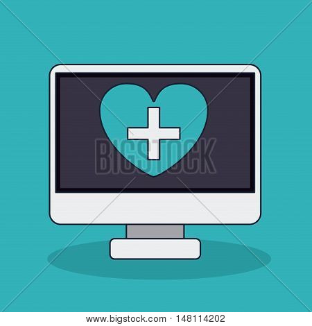 Computer heart with cross shape icon. Medical and health care theme. Colorful design. Vector illustration