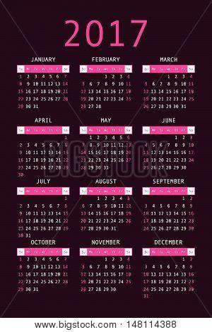 Calendar For 2017 On Black Background Vertical