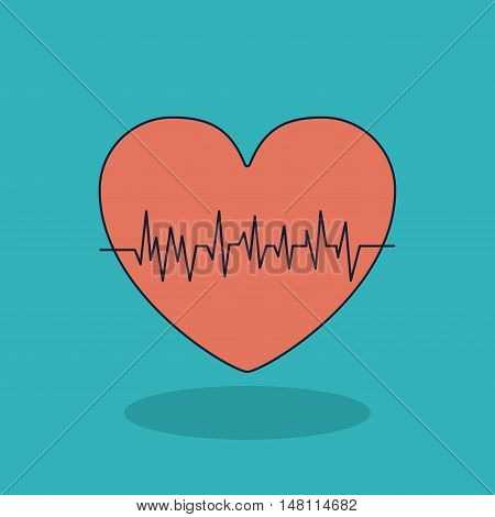 Heart with pulse icon. Medical and health care theme. Colorful design. Vector illustration