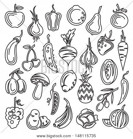 monochrome set of fruits and vegetables