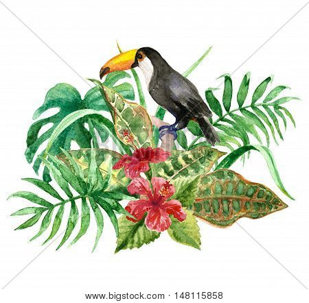 Raster colorful set of toucan on a floral background. Illustration for special books and maps children goods fairy and fantastic themes. Design element. Tropical image. Bird theme.
