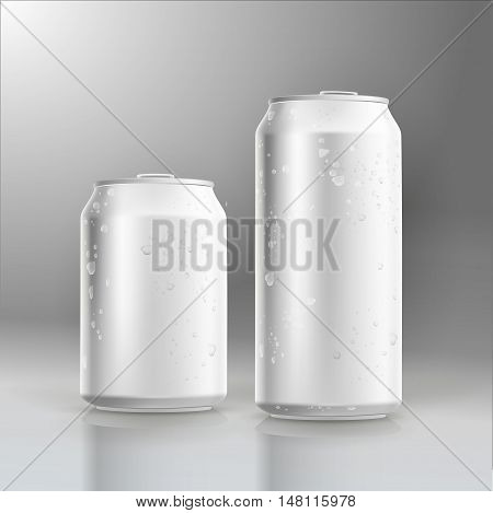 Photorealistic beer can mockup with water drops.