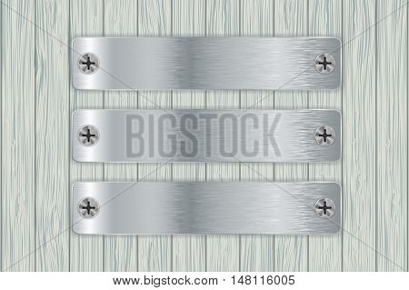 Metal plates on wooden wall. Vector illustration on grey wooden background