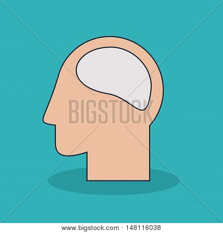 Head and brain icon. Medical and health care theme. Colorful design. Vector illustration